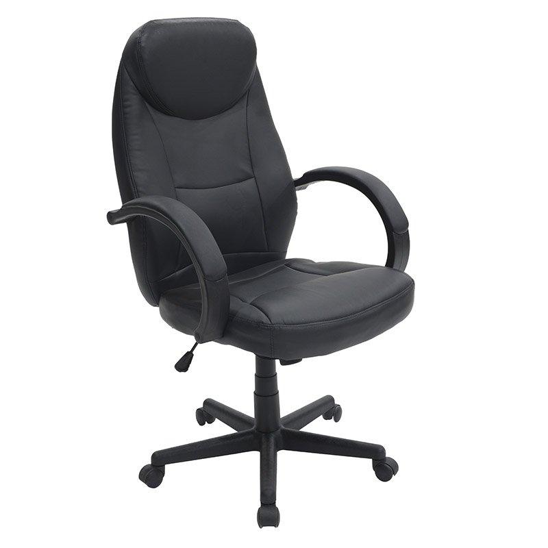 Πολυθρόνα γραφείου διευθυντή Antonio με PU χρώμα μαύρο