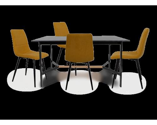 Σετ 5 τμχ.Tokyo Τραπέζι Μαύρο 140 x 80 + Living Καρέκλα Κίτρινη 03-0753/02-0382