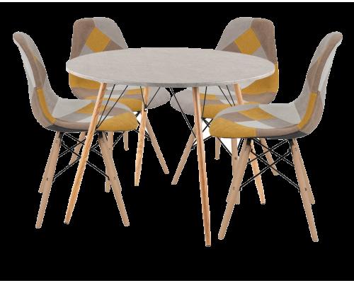 Σετ 5 τμχ. Rock Τραπέζι Ροτόντα Cement Φυσικό 100εκ. + Καρέκλα Eiffel Patchwork Κίτρινο 02-0277/03-0762