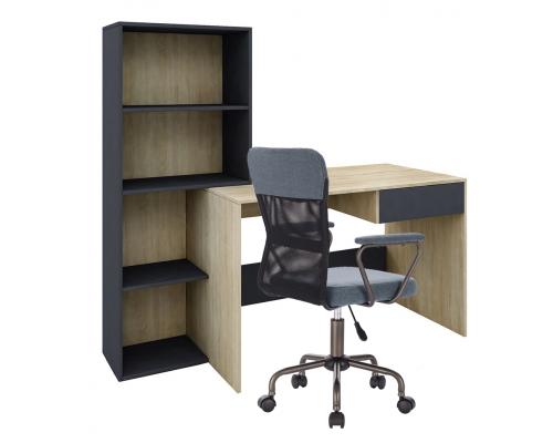 Σετ 2 τμχ. Twingo Γραφείο Βιβλιοθήκη Sonoma Γκρι Σκούρο +  Καρέκλα Γραφείου Blue Black Μαύρο 25-0510/24-0471