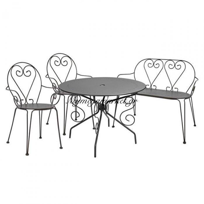 Σετ 4Τμχ Amore Με Τραπέζι-Καρέκλες & Παγκάκι Ανθρακί Hm10281 | Mymegamarket.gr
