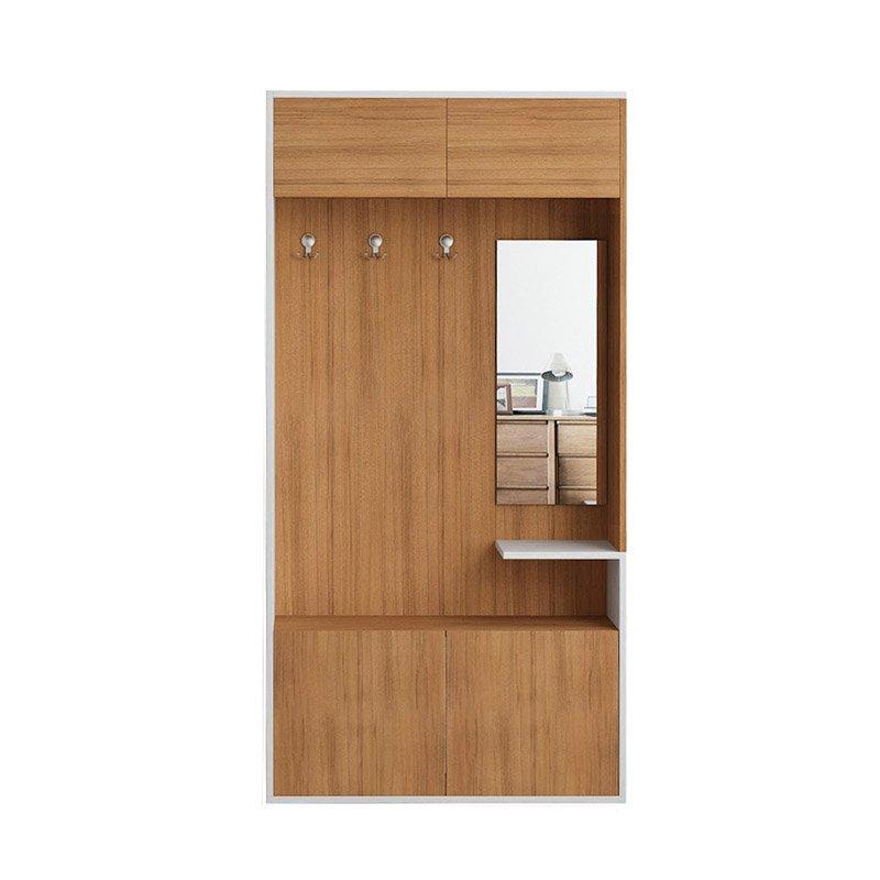 Επιπλο εισόδου-παπουτσοθήκη Alfabeta χρώμα Τeak/λευκό 90x31x179