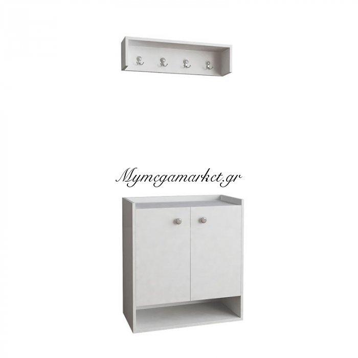 Έπιπλο εισόδου-παπουτσοθήκη Οvo χρώμα λευκό 80x40x87 | Mymegamarket.gr