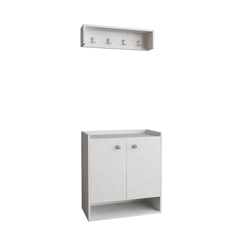 Έπιπλο εισόδου-παπουτσοθήκη Οvo χρώμα λευκό 80x40x87