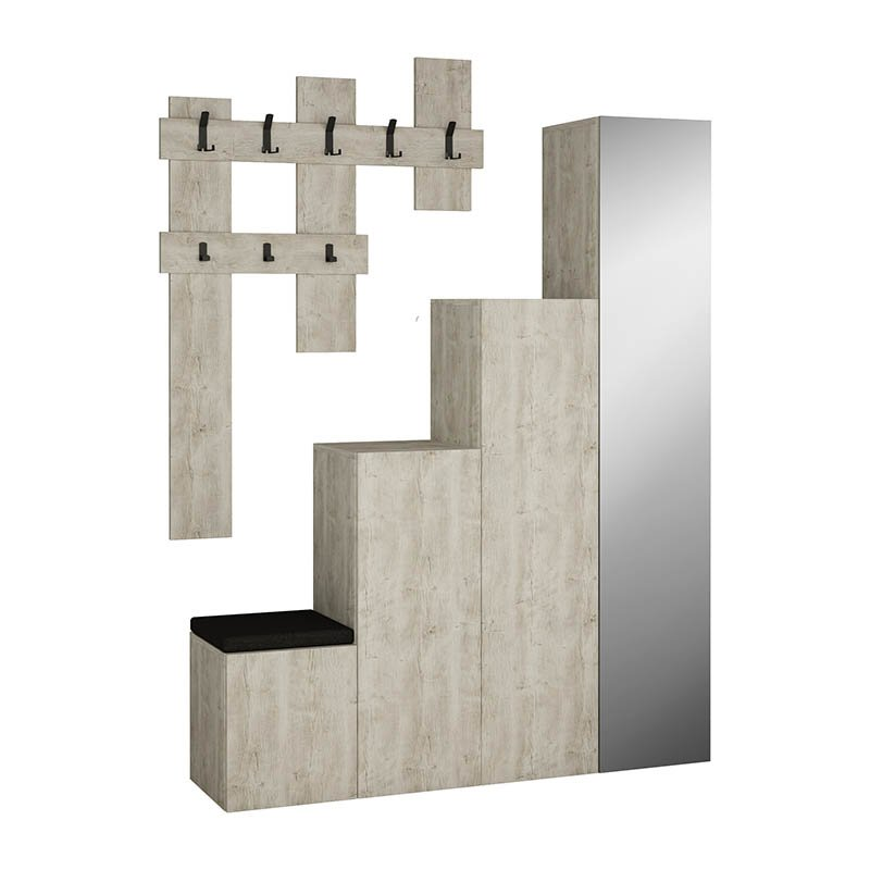 Έπιπλο εισόδου-παπουτσοθήκη UP με κρεμάστρα και καθρέπτη χρώμα antique λευκό 140x37x180