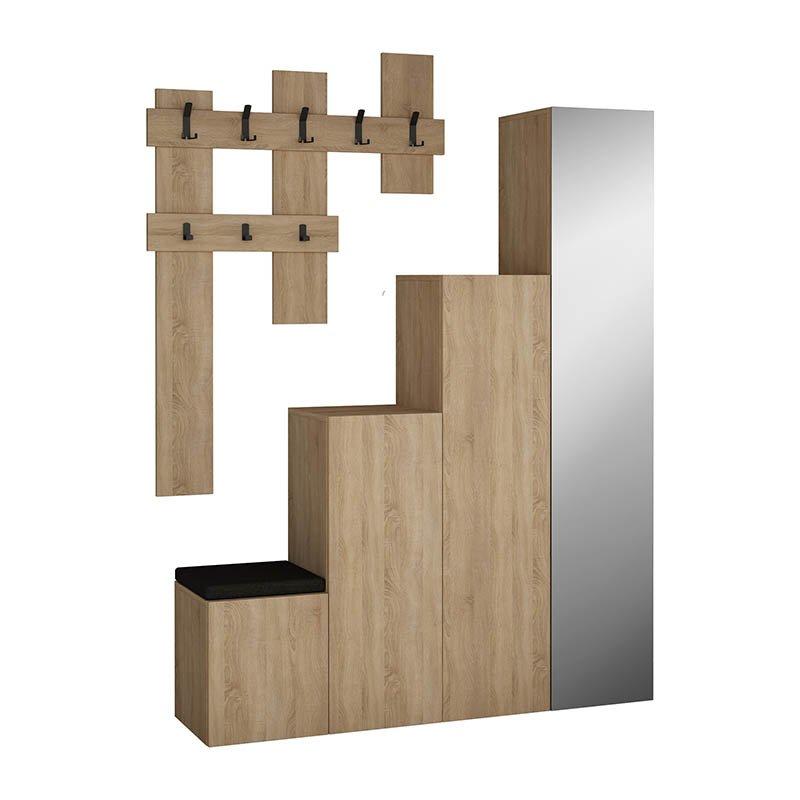 Έπιπλο εισόδου-παπουτσοθήκη UP με κρεμάστρα και καθρέπτη χρώμα φυσικό 140x37x180