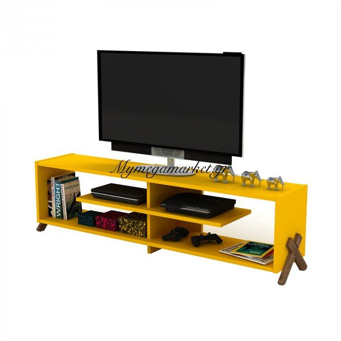 Έπιπλο τηλεόρασης KIPP σε χρώμα κίτρινο με καρυδί λεπτομέρειες 145x31x39εκ | Mymegamarket.gr