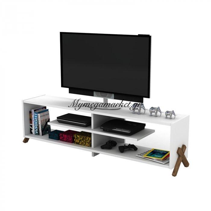 Έπιπλο τηλεόρασης KIPP σε χρώμα λευκό με καρυδί λεπτομέρειες 145x31x39εκ | Mymegamarket.gr