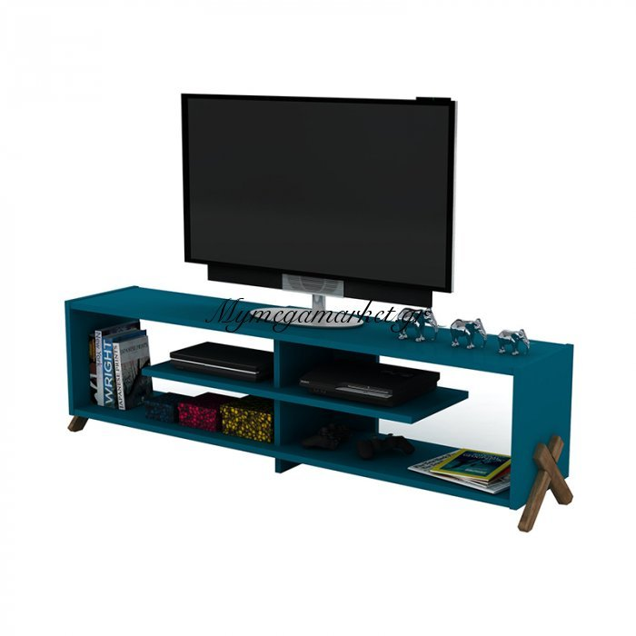 Έπιπλο τηλεόρασης KIPP σε χρώμα πετρόλ με καρυδί λεπτομέρειες 145x31x39εκ | Mymegamarket.gr
