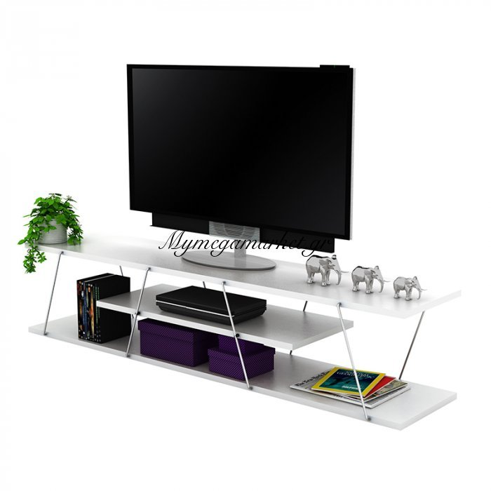 Έπιπλο τηλεόρασης TARS σε χρώμα λευκό με λεπτομέρειες χρωμίου 143x32x31εκ | Mymegamarket.gr