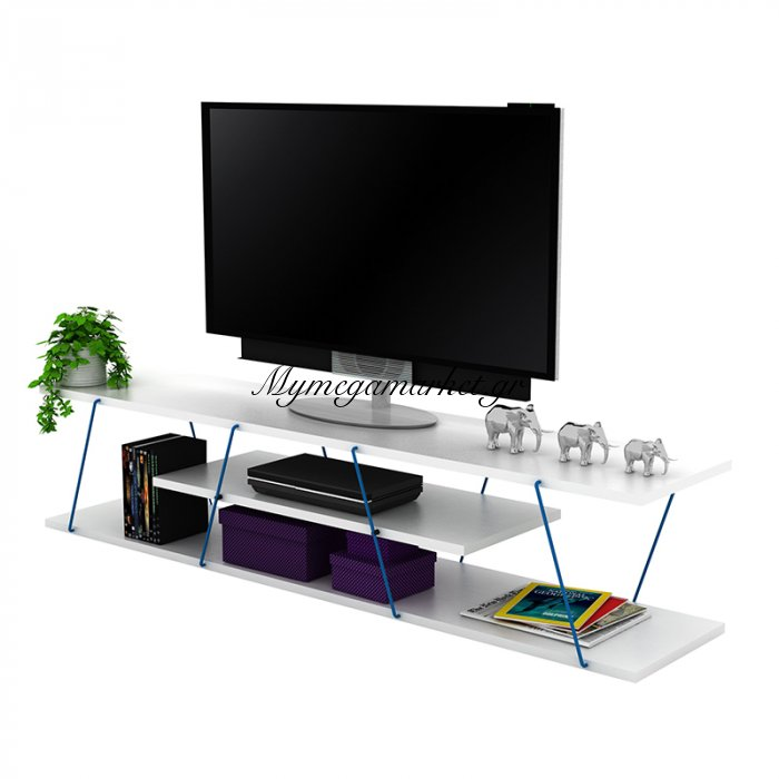 Έπιπλο τηλεόρασης TARS σε χρώμα λευκό με μπλε λεπτομέρειες 143x32x31εκ | Mymegamarket.gr