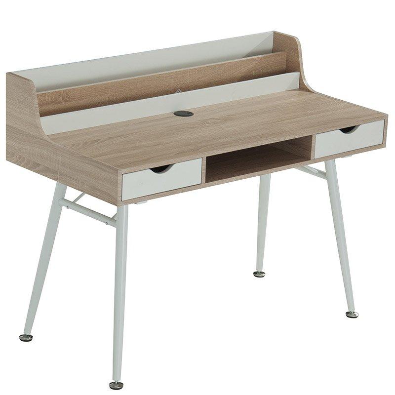 Γραφείο Balena μεταλλικό με επιφάνεια από MDF χρώμα φυσικό ξύλο και λευκό 120x60x94