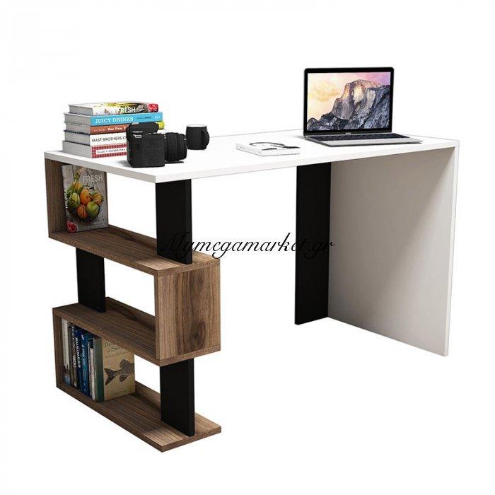 Γραφείο SNAP σε χρώμα λευκό με καρυδί και μαύρες λεπτομέρειες 120x60x75 εκ | Mymegamarket.gr