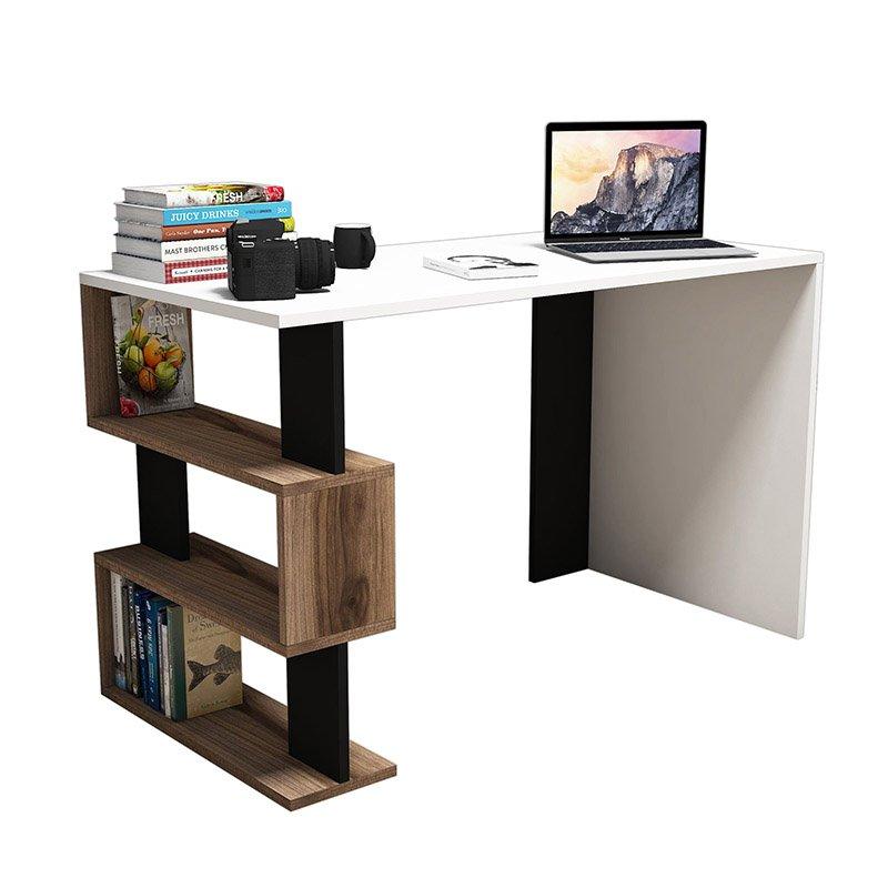 Γραφείο SNAP σε χρώμα λευκό με καρυδί και μαύρες λεπτομέρειες 120x60x75 εκ