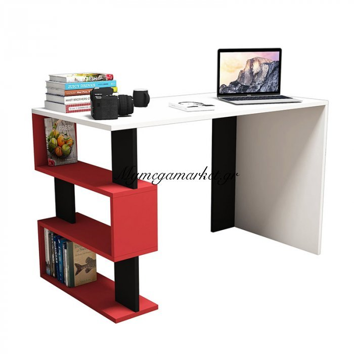 Γραφείο SNAP σε χρώμα λευκό με κόκκινες και μαύρες λεπτομέρειες 120x60x75 εκ | Mymegamarket.gr