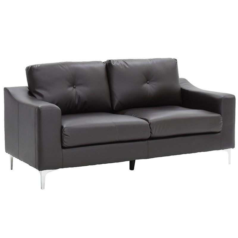 Καναπές 3θέσιος Oliver με PU σκούρο καφέ 186x87x91