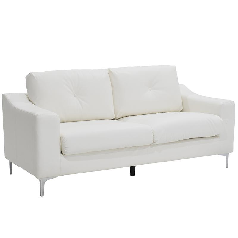 Καναπές 3θέσιος Oliver PU λευκός 186x87x91