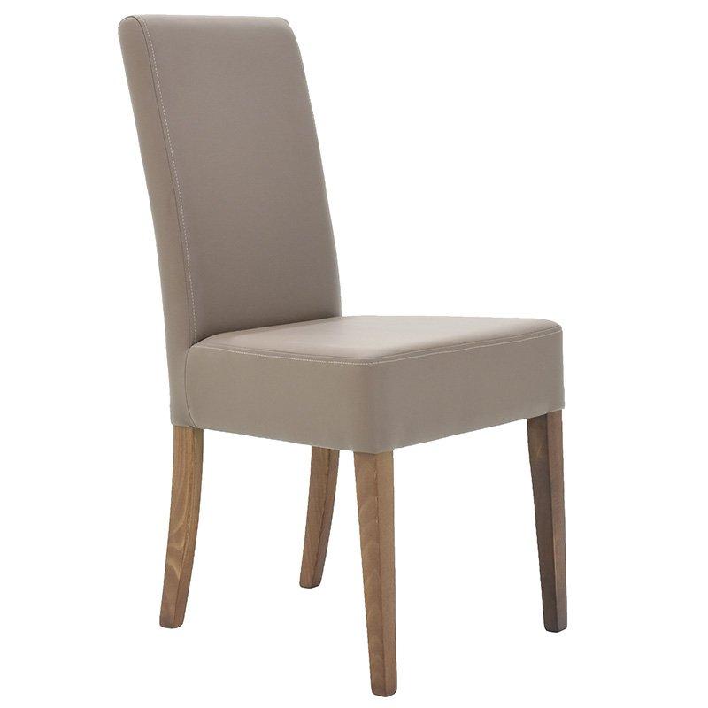 Καρέκλα DITTA απο μασίφ ξύλο οξιάς με επένδυση pu τεχνόδερμα χρώμα μόκα επαγγελματικής κατασκευής