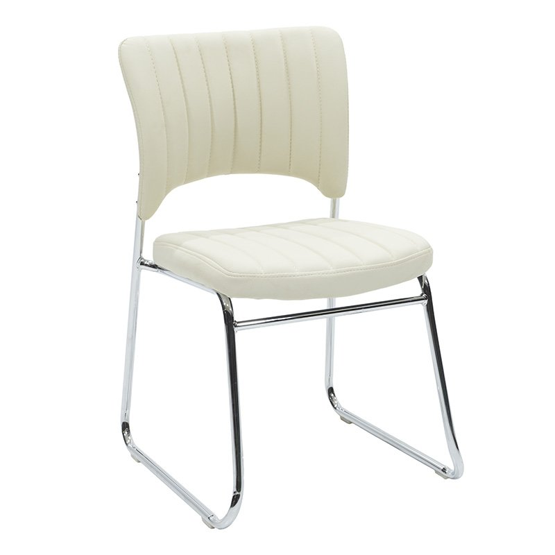 Καρέκλα γραφείου επισκέπτη Evelia με PU χρώμα εκρού