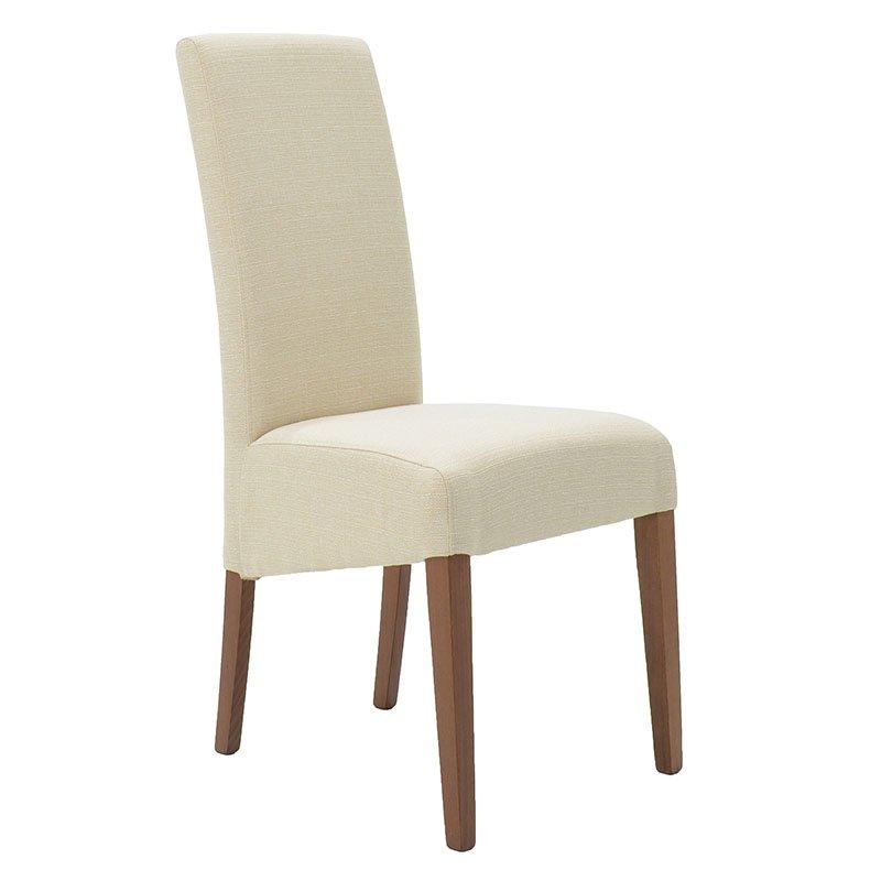 Καρέκλα LUNGO από μασίφ ξύλο οξιάς με επένδυση ύφασμα χρώμα εκρού επαγγελματικής κατασκευής