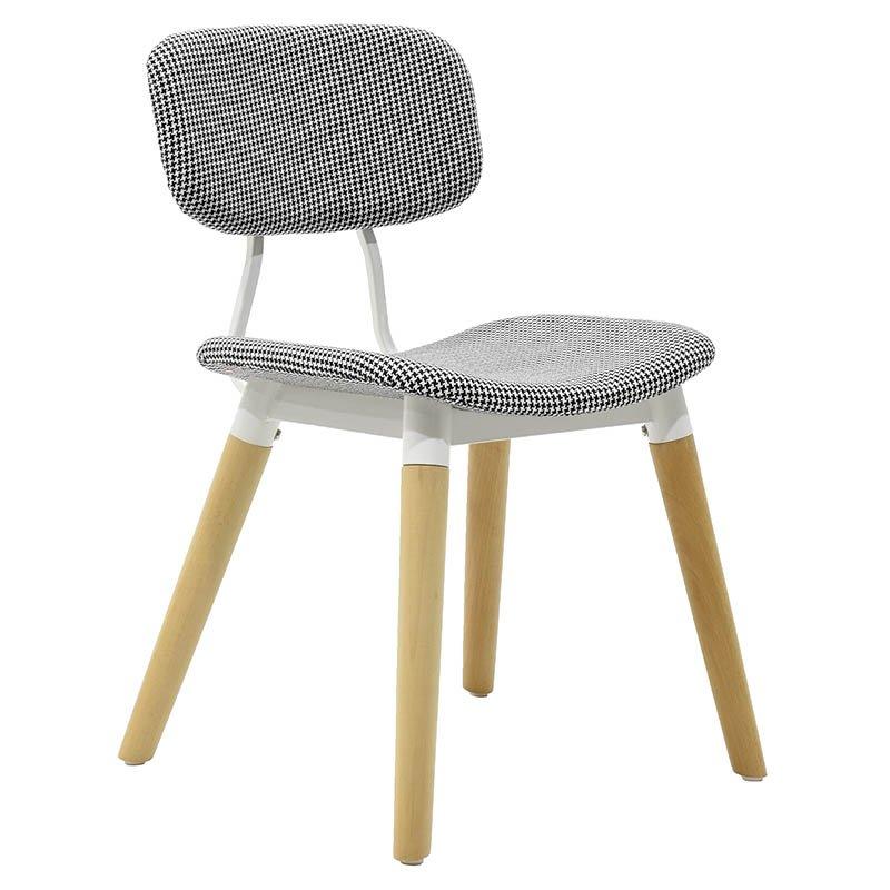 Καρέκλα Narla υφασμάτινη χρώμα λευκό μαύρο χρώμα