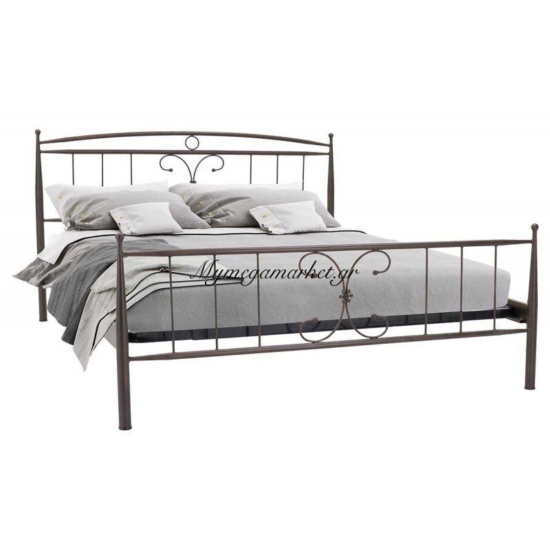 Κρεβάτι Alketa μεταλλικό 160x200 καφέ σαγρέ