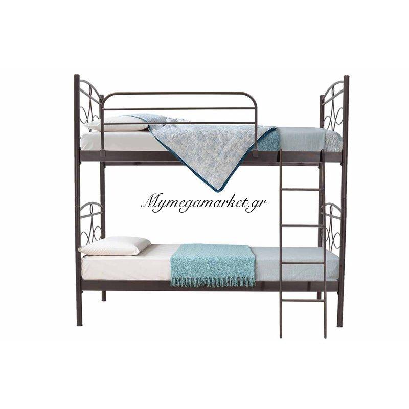 Κρεβάτι κουκέτα Melita μεταλλική 90x190 καφέ