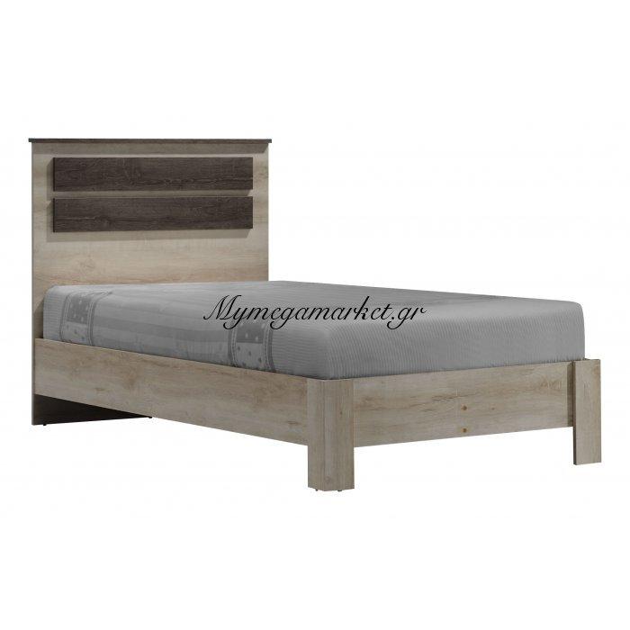 Κρεβάτι μονό OLYMPUS σε χρώμα castillo-toro δρυς 100x200εκ. | Mymegamarket.gr