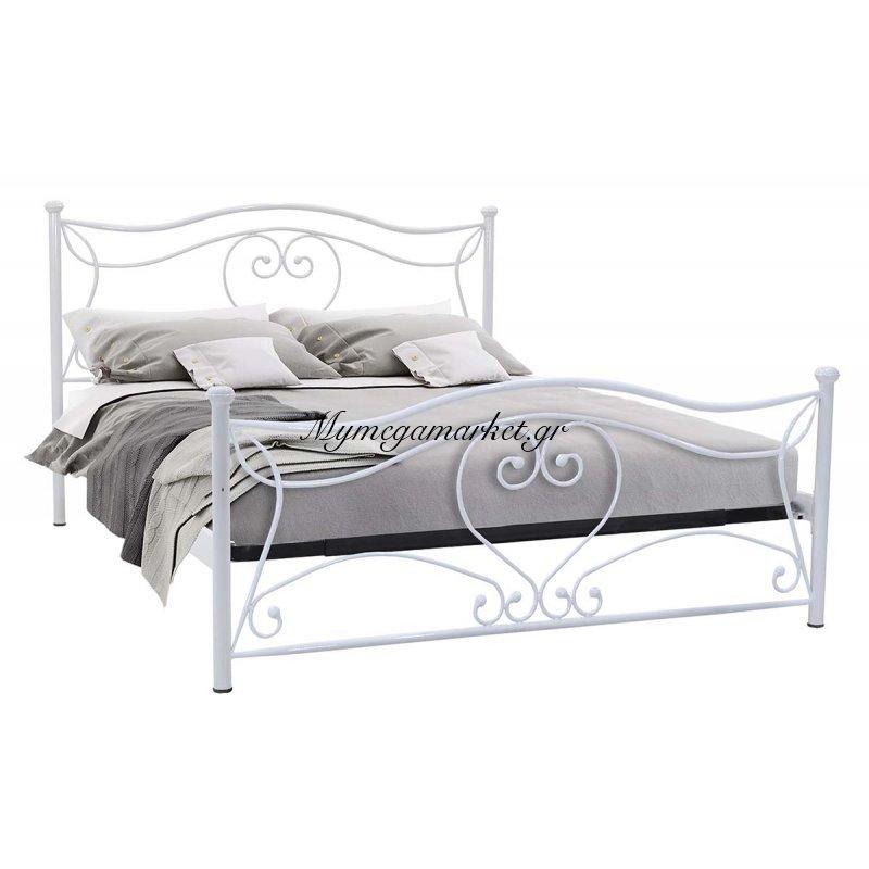 Κρεβάτι Monte μεταλλικό 160x200 λευκό
