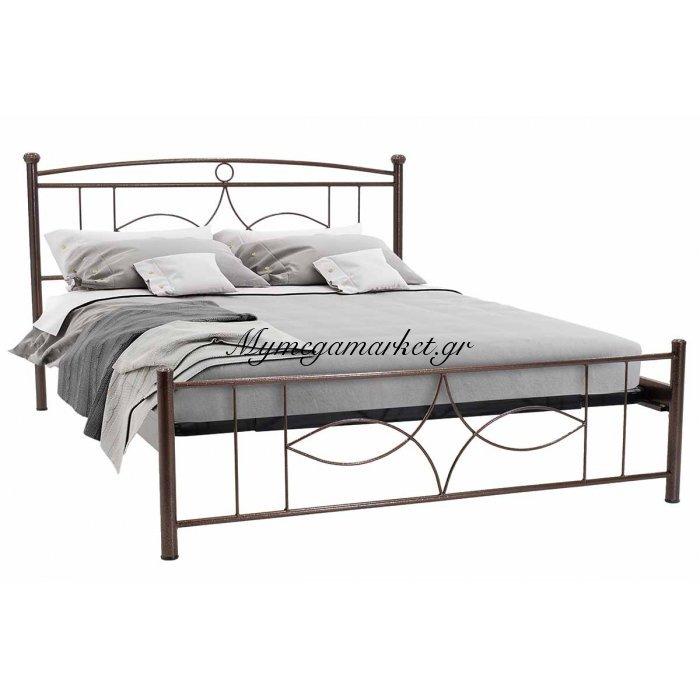 Κρεβάτι Roberto μεταλλικό 150x200 σφυρήλατο καφέ | Mymegamarket.gr