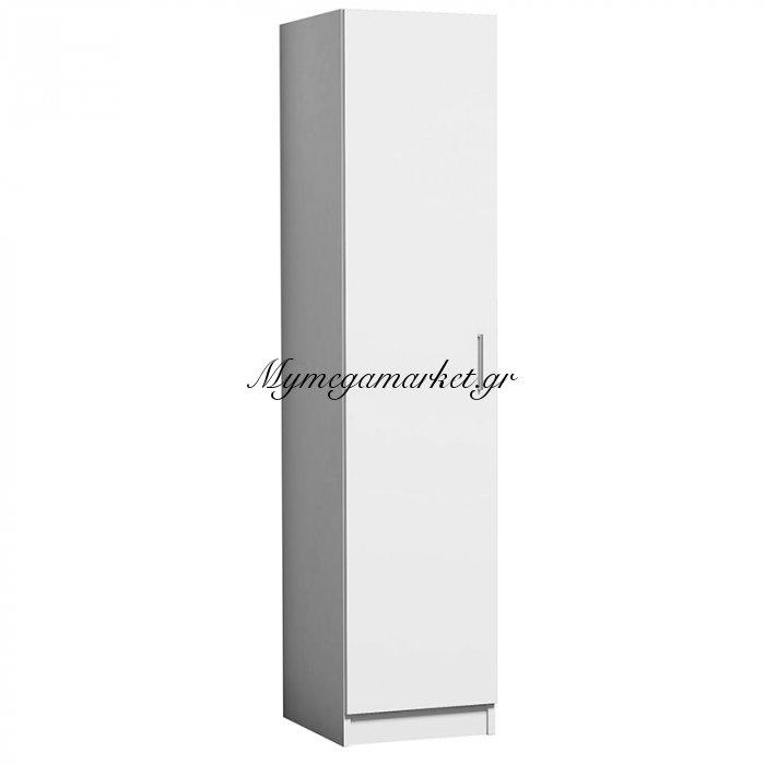 Ντουλάπα μονόφυλλη Granikos με δύο κρεμάστρες λευκή 40x47x178 | Mymegamarket.gr