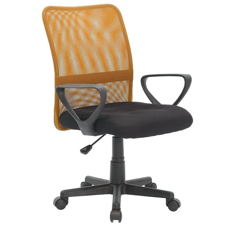 Παιδική πολυθρόνα γραφείου εργασίας Jordan με ύφασμα mesh μαύρο και πορτοκαλί