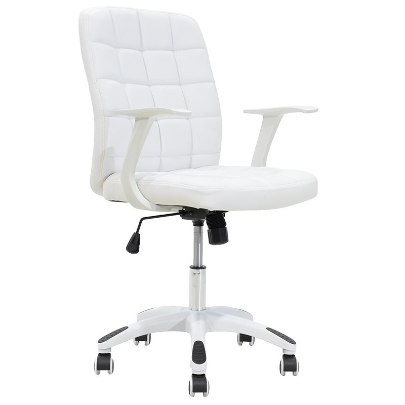 Πολυθρόνα εργασίας ARIEL μεταλλική με επένδυση τεχνόδερμα χρώμα λευκό