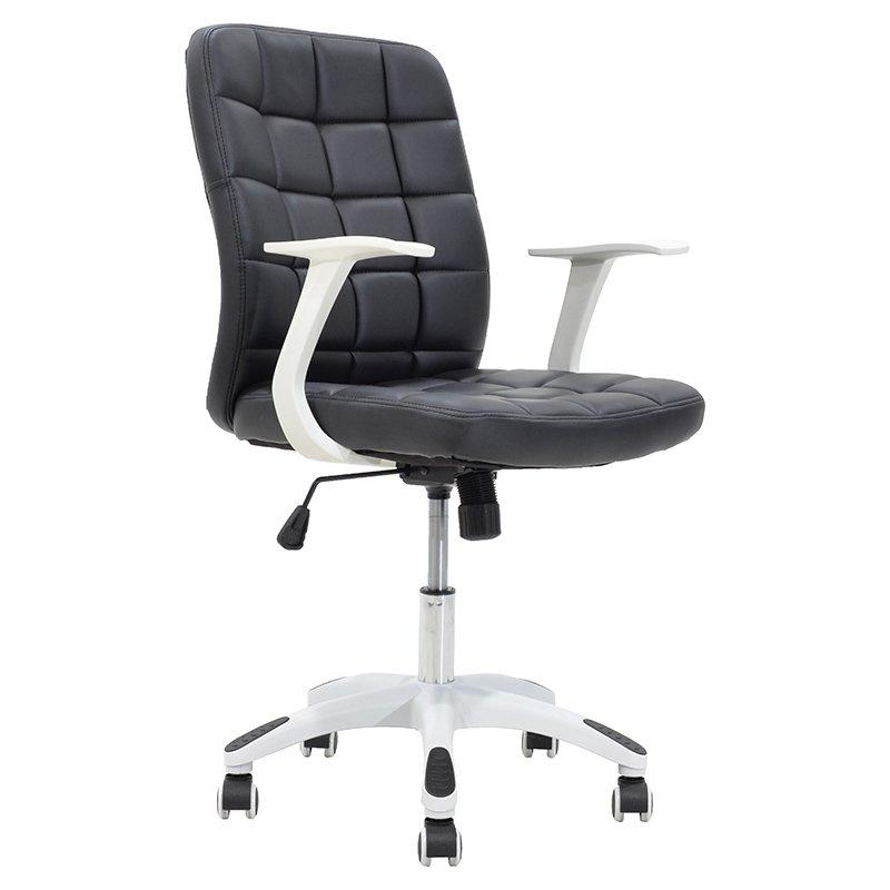 Πολυθρόνα εργασίας ARIEL μεταλλική με επένδυση τεχνόδερμα χρώμα μαύρο-λευκό
