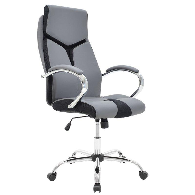 Πολυθρόνα γραφείου διευθυντή SHARK πολυτελείας με επένδυση τεχνόδερμα χρώμα γκρι-μαύρο