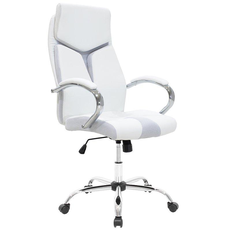 Πολυθρόνα γραφείου διευθυντή SHARK πολυτελείας με επένδυση τεχνόδερμα χρώμα λευκό-γκρι