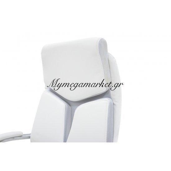 Πολυθρόνα γραφείου διευθυντή SHARK πολυτελείας με επένδυση τεχνόδερμα χρώμα λευκό-γκρι Στην κατηγορία Καρέκλες - Πολυθρόνες γραφείου | Mymegamarket.gr