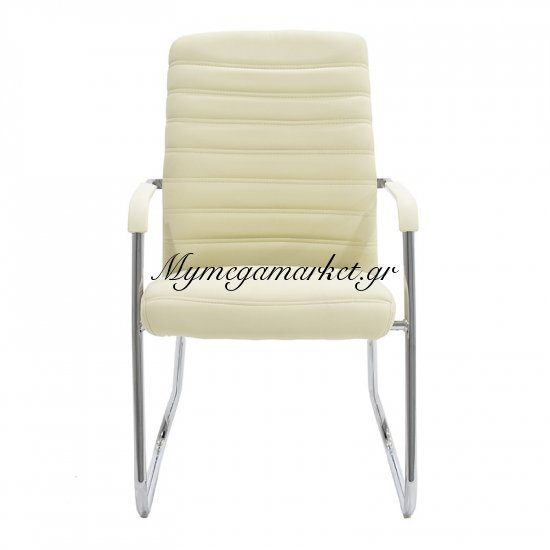 Πολυθρόνα γραφείου επισκέπτη Aron με PU χρώμα εκρού Στην κατηγορία Καρέκλες - Πολυθρόνες γραφείου | Mymegamarket.gr