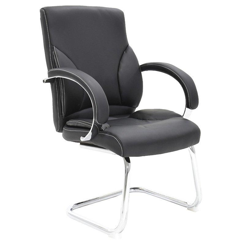 Πολυθρόνα γραφείου επισκέπτη Filippo με PU χρώμα μαύρο
