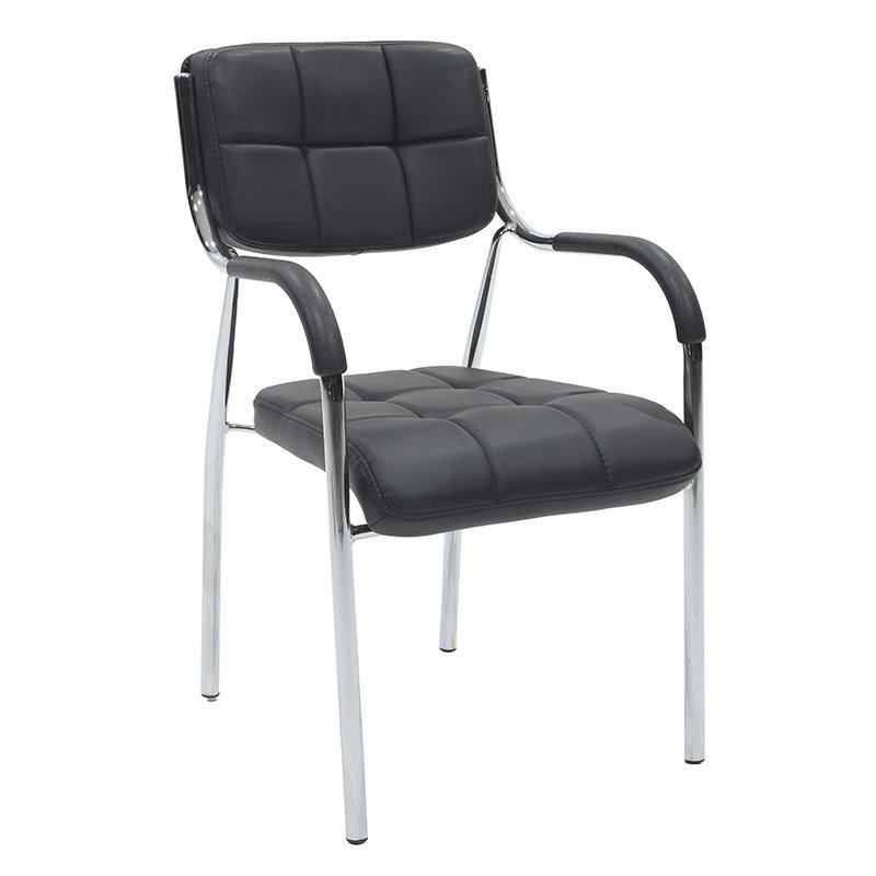 Πολυθρόνα γραφείου επισκέπτη Florida με PVC χρώμα μαύρο