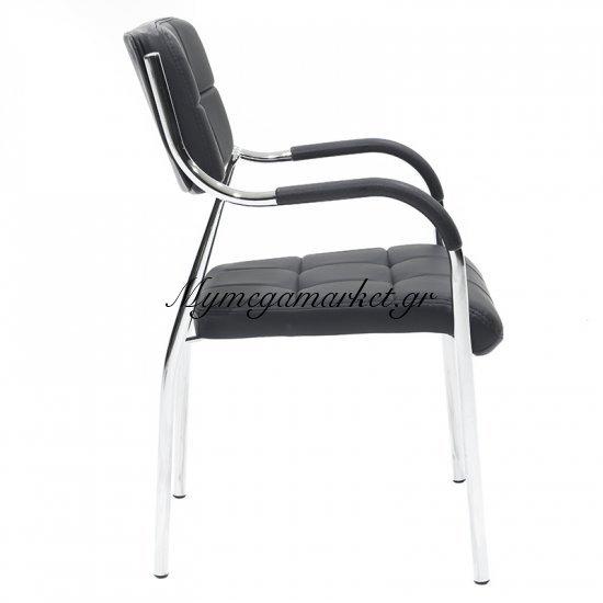 Πολυθρόνα γραφείου επισκέπτη Florida με PVC χρώμα μαύρο Στην κατηγορία Καρέκλες - Πολυθρόνες γραφείου | Mymegamarket.gr