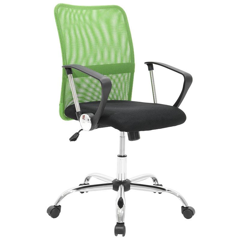 Πολυθρόνα γραφείου εργασίας Rina με ύφασμα mesh χρώμα μαύρο και πράσινο