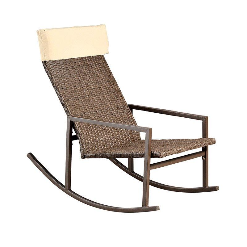 Πολυθρόνα κήπου ROCK κουνιστή μεταλλική πλέξη wicker χρώμα σκούρο καφέ με μαξιλάρι στο προσκέφαλο