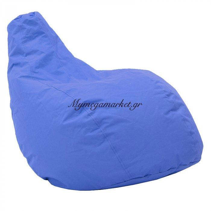 Πουφ πολυθρόνα Basic υφασμάτινο αδιάβροχο μπλε | Mymegamarket.gr