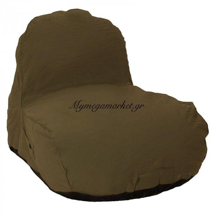 Πουφ πολυθρόνα Jana υφασμάτινο επαγγελματικό 100% αδιάβροχο χρώμα σκούρο καφέ | Mymegamarket.gr