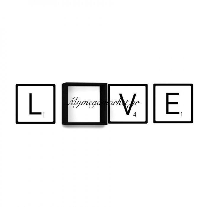 Ράφι τοίχου Love χρώμα λευκό με αυτοκόλλητο τοίχου 34x20x34 | Mymegamarket.gr