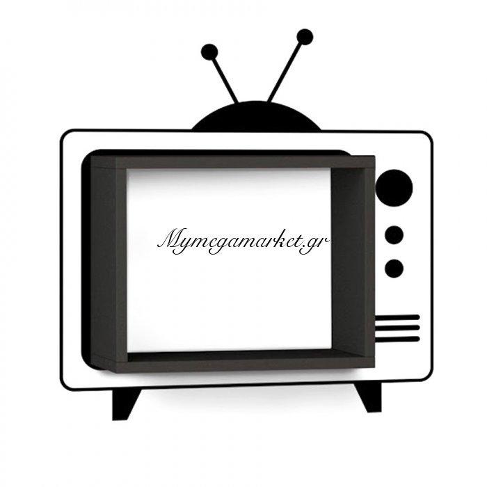 Ράφι τοίχου Τv χρώμα μαύρο με αυτοκόλλητο τοίχου 42x20x34 | Mymegamarket.gr