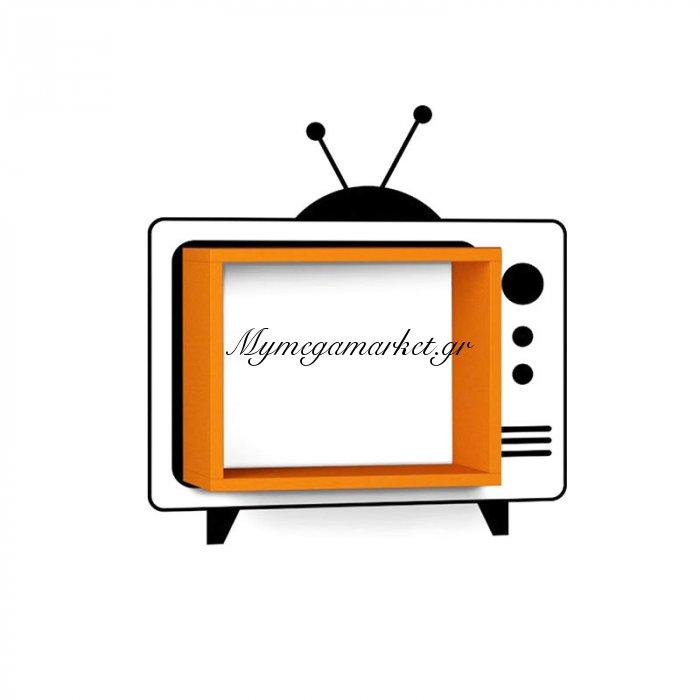Ράφι τοίχου Τv χρώμα πορτοκαλί με αυτοκόλλητο τοίχου 42x20x34 | Mymegamarket.gr