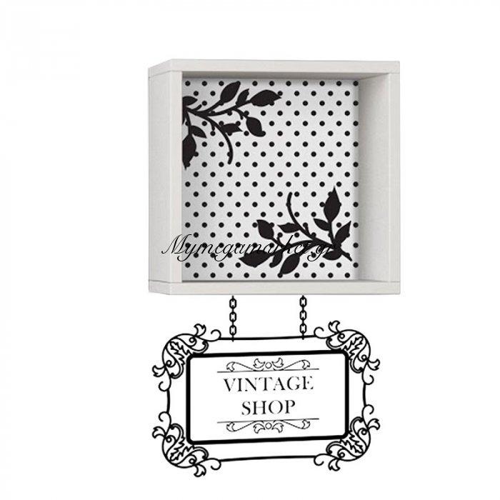 Ράφι τοίχου Vintage χρώμα λευκό με αυτοκόλλητο τοίχου 34x20x34 | Mymegamarket.gr