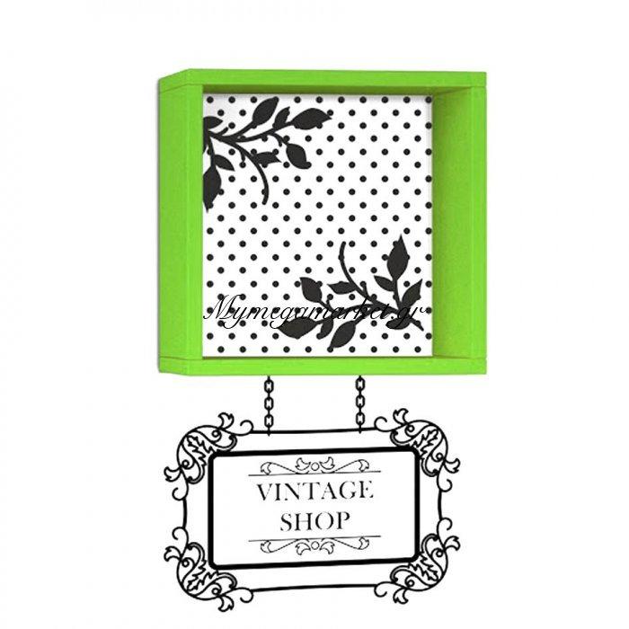 Ράφι τοίχου Vintage χρώμα πράσινο με αυτοκόλλητο τοίχου 34x20x34 | Mymegamarket.gr